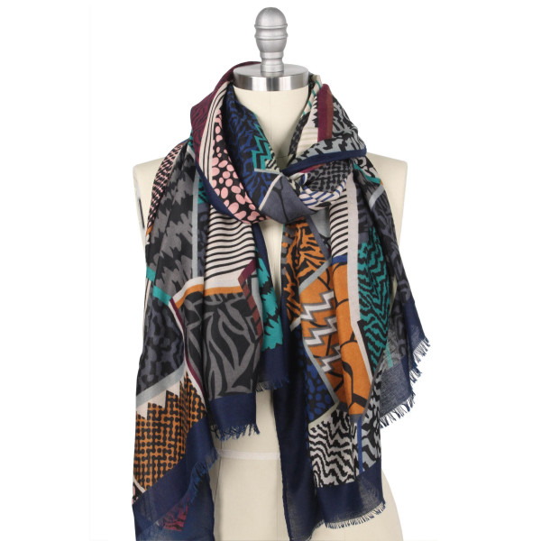 "Lightweight animal print scarf.  - Approximately 35.5"" W x 70.5"" L - 100% Polyester"