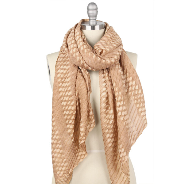"Lightweight pleated texture natural dye scarf.  - Approximately 35.5"" W x 70.5"" L - 100% Polyester"