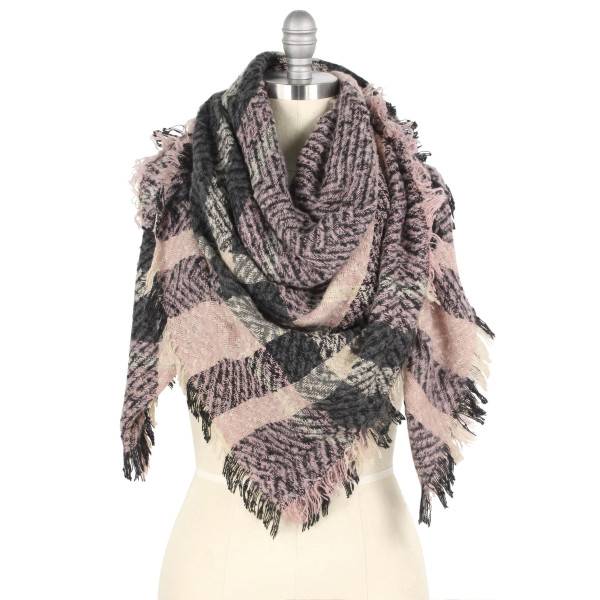 """Plaid print blanket scarf.  - Approximately 51"""" W x 53"""" L - 100% Polyester"""