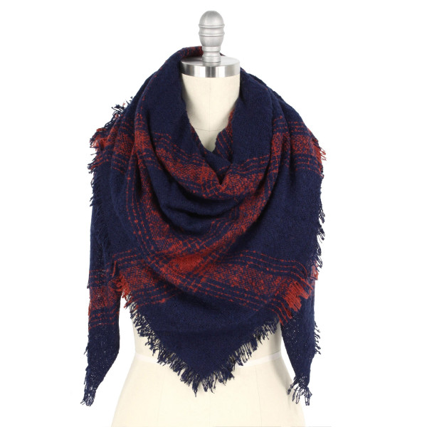 "Plaid print blanket scarf.  - Approximately 51"" W x 53"" L - 100% Polyester"
