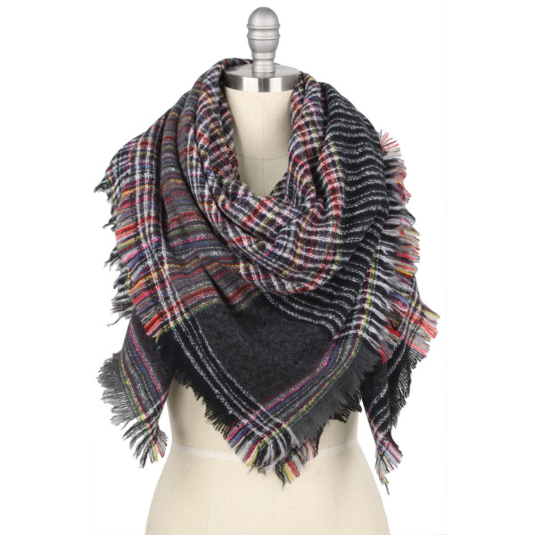 """Multicolor plaid print blanket scarf/shawl.  - Approximately 51"""" W x 53"""" L - 100% Polyester"""