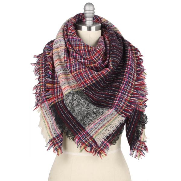 "Plaid print blanket scarf/shawl.  - Approximately 51"" W x 53"" L - 100% Polyester"