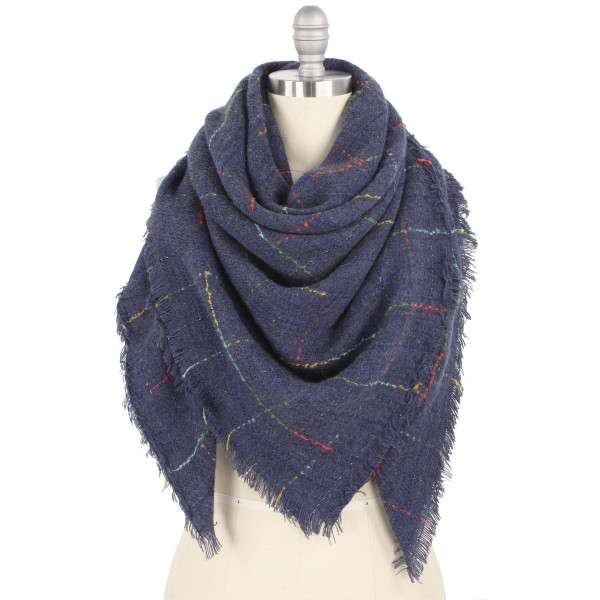 """Multicolor grid blanket scarf.  - Approximately 51"""" W x 51"""" L - 100% Polyester"""