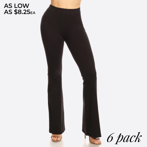 "Solid high rise flare leggings. Inseam approximately 31"" in length.  • High rise style waist  • Flare hem  • Soft and stretchy fabric  • Perfect for styling with heels or booties  • Imported   - Pack Breakdown: 6pcs / pack  - Sizes: 2S / 2M / 2L  - Composition: 92% Cotton, 8% Spandex"