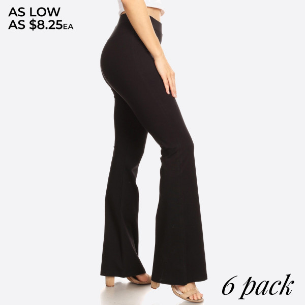 """Solid color high rise flare leggings. Inseam approximately 31"""" in length.  • High rise style waist  • Flare hem  • Soft and stretchy fabric  • Perfect for styling with heels or booties  • Imported   - Pack Breakdown: 6pcs / pack  - Sizes: 2S / 2M / 2L  - Composition: 92% Cotton, 8% Spandex"""