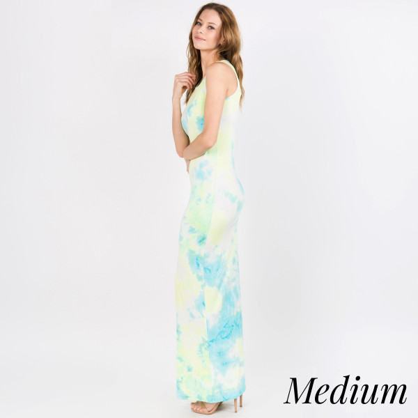 """Tie-dye sleeveless full length maxi dress. Approximately 40"""" in length.  • Scoop Neckline  • Sleeveless  • Closure Style: Pullover  • Import  - Size: Medium   - Content: 95% Rayon, 5% Spandex"""