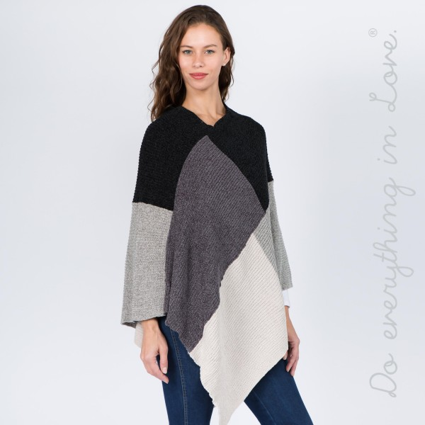 "Do everything in Love brand chenille knit color block poncho.  - One size fits most 0-14 - Approximately 34"" L - 100% Acrylic"