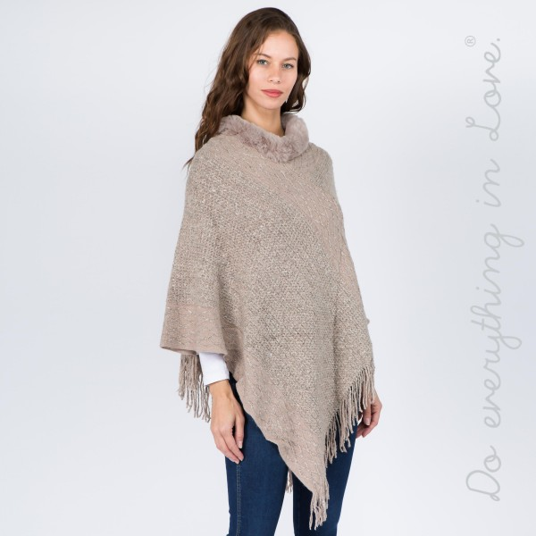 """Do everything in Love brand marled knit poncho with faux fur neck trim and fringes.  - One size fits most 0-14 - Approximately 36"""" L - 100% Acrylic"""