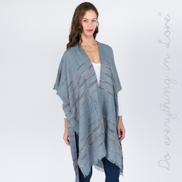 "Do everything in Love brand multicolor stitched stripe kimono.  - One size fits most 0-14 - Approximately 37"" L - 100% Acrylic"