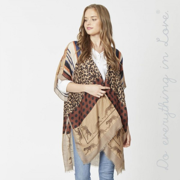 """Do everything in Love brand lightweight multi mixed animal print kimono.  - One size fits most 0-14 - Approximately 36"""" in length - 100% Viscose"""