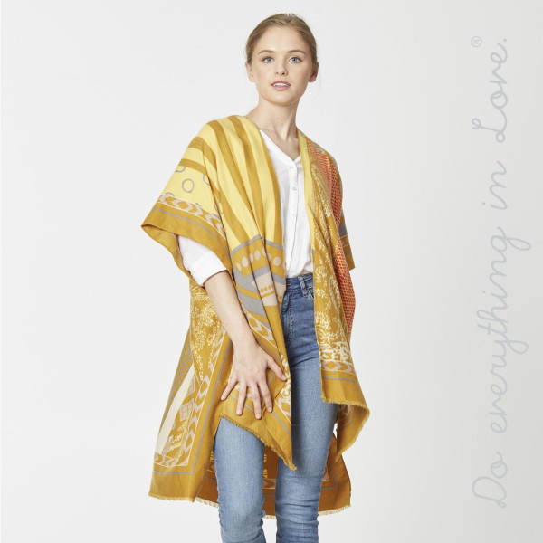 "Do everything in Love brand lightweight multi geo patch pattern kimono.  - One size fits most 0-14 - Approximately 36"" in length - 100% Polyester"