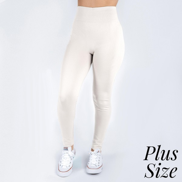 New Kathy / New Mix plus size white, summer-weight leggings are seamless, chic, and a must-have for every wardrobe. These lightweight, full-length leggings are versatile, perfect for layering, and available in many shades. Smooth fabric, 92% Nylon 8% Spandex. One size, fits US women's 16-20.