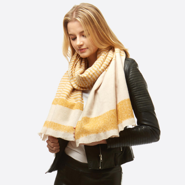 """Striped boucle oblong scarf.  - Approximately 24"""" W x 79"""" L - 100% Polyester"""