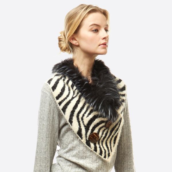 """Zebra print faux fur trim chenille neck warmer/infinity scarf with coconut button details.  - Front approximately 17"""" W x 15"""" L; Back approximately 17"""" W x 8"""" L  - 50% Acrylic, 50% Nylon"""