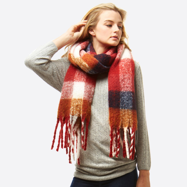 """Oversized fuzzy plaid oblong scarf with fringes.  - Approximately 19"""" W x 86"""" L - 100% Polyester"""