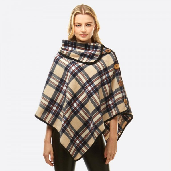 "Plaid print turtleneck poncho with snap and wood button details.   - One size fits most 0-14 - Approximately 34"" in length - 100% Polyester"