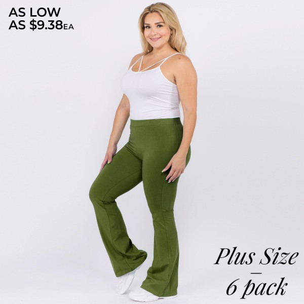 """Solid color plus size high rise flare leggings. Inseam approximately 31"""" in length.  • High rise style waist  • Flare hem  • Soft and stretchy fabric  • Perfect for styling with heels or booties  • Imported   - Pack Breakdown: 6pcs / pack  - Sizes: 2-XL / 2-1X / 2-2X  - Composition: 92% Cotton, 8% Spandex"""