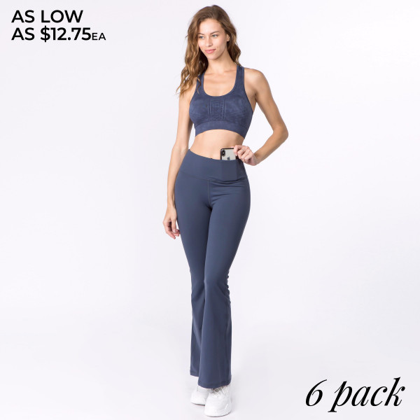 """Solid color high rise flare yoga/athletic pants.  • High rise waistband with interior coin pocket for keys or cards  • Flared hem  • 4-way stretch fabric for a move-with-you feel  • Moisture wicking  • Soft supplex nylon-blend fabric with a cotton feel  • Flatlock seams prevent chafe while triangle gusset eliminates camel toe  • Fits like a glove  • Full length design  • Imported   - Pack Breakdown: 6pcs / pack - Sizes: 2S / 2M / 2L - Inseam approximately 31"""" in length - Composition: 87% Nylon, 13% Spandex"""