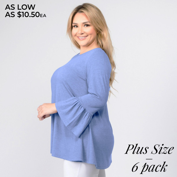 """Solid color plus size bell sleeve tunic top. Approximately 29"""" in length.  • 3/4 length bell sleeves  • Round neckline  • Relaxed fit  • Pullover styling  • Soft and comfortable fabric  • Imported   - Pack Breakdown: 6pcs / pack  - Sizes: 2-XL / 2-1X / 2-2X  - Composition: 62% Polyester, 34% Rayon, 4% Spandex"""