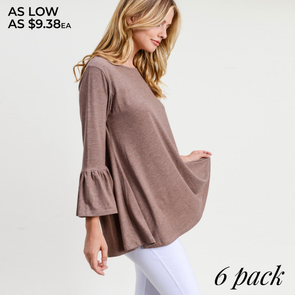 """Solid color bell sleeve tunic top. Approximately 28"""" in length.  • 3/4 length bell sleeves  • Round neckline  • Relaxed fit  • Pullover styling  • Soft and comfortable fabric  • Imported   - Pack Breakdown: 6pcs / pack  - Sizes: 2S / 2M / 2L  - Composition: 62% Polyester, 34% Rayon, 4% Spandex"""