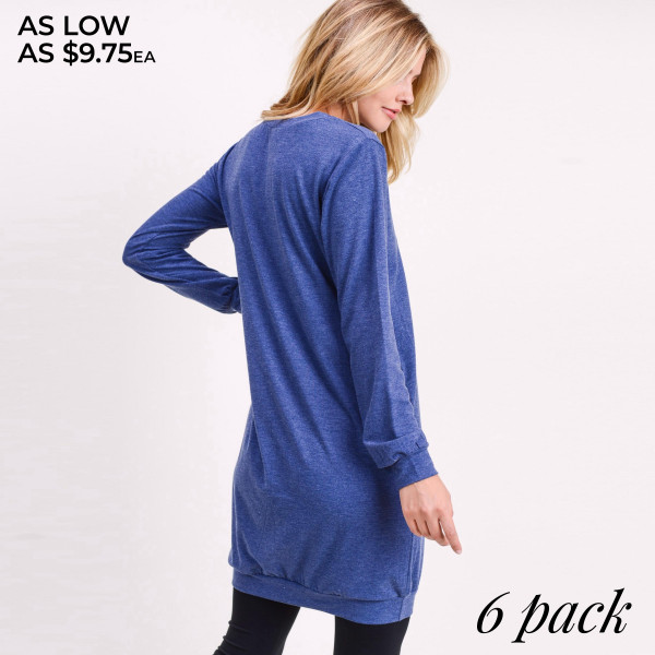 """Solid color heathered sweatshirt tunic dress.  • Long sleeves with banded cuffs  • Crew neck  • Two side seam pockets to keep your hands warm  • Soft and comfortable fabric with stretch  • Above the knee length hem  • Perfect for running errands, casual hangouts, or lounging at home  • Imported   - Pack Breakdown: 6pcs / pack - Sizes: 2S / 2M / 2L - Approximately 34"""" L  - 62% Polyester, 34% Rayon, 4% Spandex"""