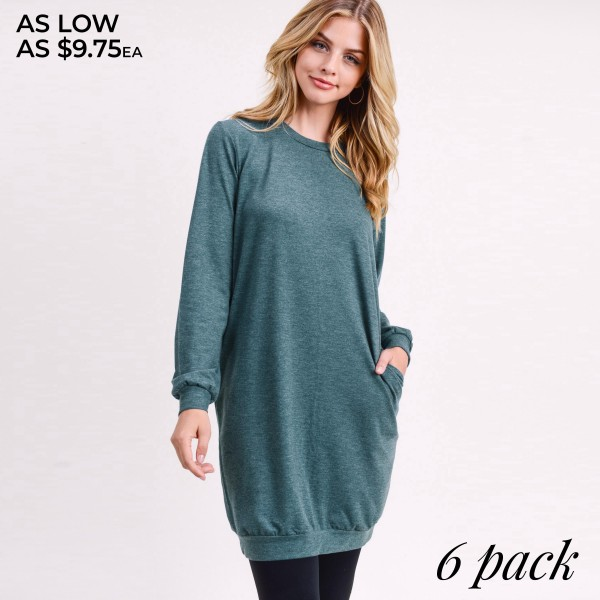 """Solid color long sleeve sweatshirt tunic dress. Approximately 34"""" in length.  • Long sleeves with banded cuffs  • Crew neck  • Two side seam pockets to keep your hands warm  • Soft and comfortable fabric with stretch  • Above the knee length hem  • Perfect for running errands, casual hangouts, or lounging at home  • Imported   - Pack Breakdown: 6pcs / pack  - Sizes: 2S / 2M / 2L  - Composition: 62% Polyester, 34% Rayon, 4% Spandex"""