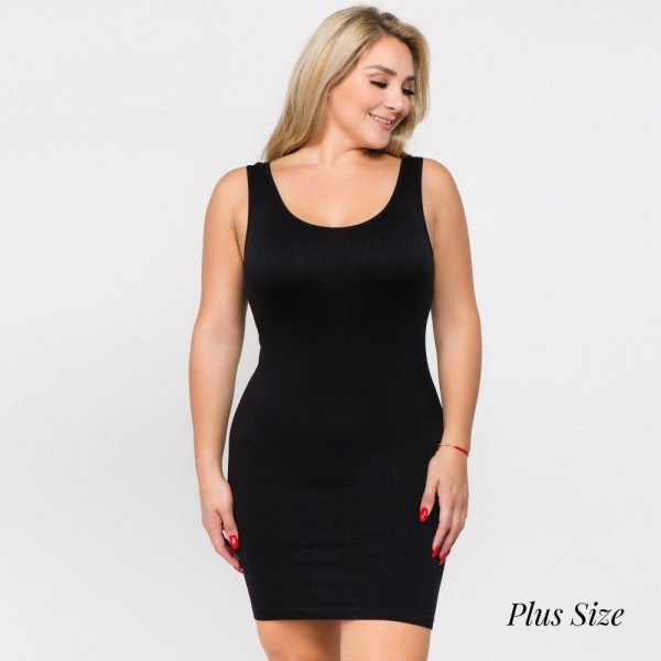 "Solid color seamless plus tank slip dress. Approximately 28"" in length.  • Sleeveless  • Scoop neckline  • Fits like a glove  • Soft and stretchy  • Seamless design for comfort  • Short length hem  • Imported  - One size fits most plus 16-22  - Composition: 92% Nylon, 8% Spandex"