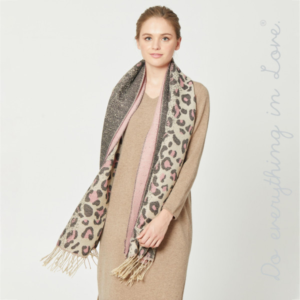 """Do everything in Love brand ombre leopard print oblong scarf with fringes.  - Approximately 27"""" W x 80"""" L - 65% Acrylic, 35% Polyester"""