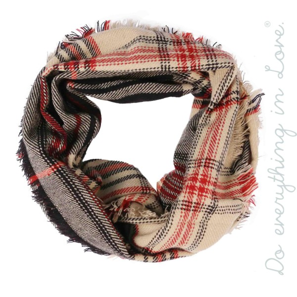 """Do everything in Love brand plaid print knit infinity scarf.   - Approximately 18"""" W x 68"""" L - 100% Acrylic"""
