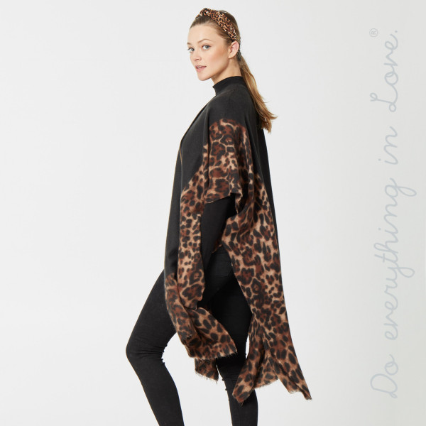 "Do everything in Love brand cozy leopard print bordered kimono.  - One size fits most 0-14 - Approximately 37"" L - 80% Polyester, 20% Viscose"