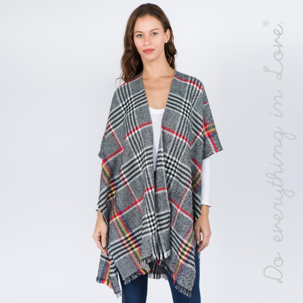 """Do everything in Love brand houndstooth plaid print kimono.  - One size fits most 0-14 - Approximately 37"""" L - 100% Polyester"""
