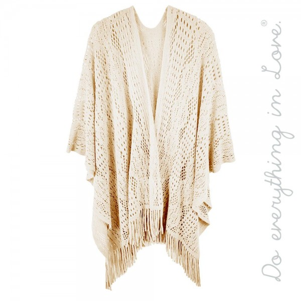 "Do everything in Love brand crochet knit kimono with fringes.  - One size fits most 0-14 - Approximately 34"" L - 100% Acrylic"