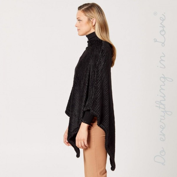 """Do everything in Love brand solid color faux fur ribbed knit poncho.  - One size fits most 0-14 - Approximately 35"""" L - 100% Polyester"""