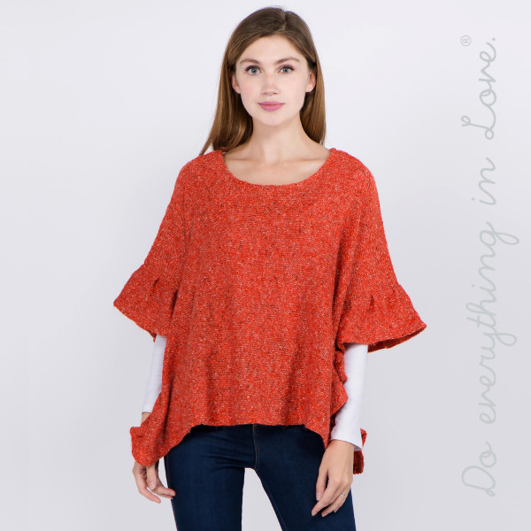 """Do everything in Love brand short solid color fuzzy knit ruffled sleeve poncho.   - One size fits most 0-14 - Approximately 21"""" L - 100% Acrylic"""
