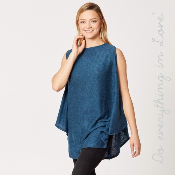 """Do everything in Love brand solid color knit sleeveless poncho.  - One size fits most 0-14 - Approximately 31"""" L - 100% Acrylic"""