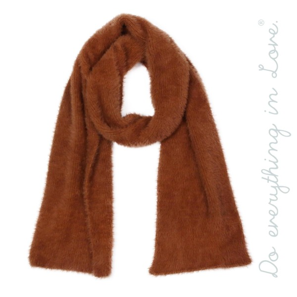"Do everything in Love brand solid color faux fur oblong pull through scarf.  - Approximately 8"" W x 68"" L - 100% Acrylic"