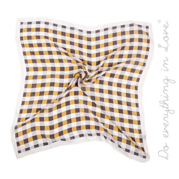 "Do everything in Love brand checkered silky bandana scarf.  - One size fits most 0-14 - Approximately 26"" W x 27"" L - 100% Polyester"