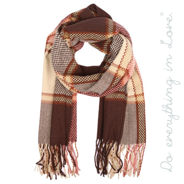 """Do everything in Love brand checkered herringbone plaid scarf with fringes.  - Approximately 23"""" W x 78"""" L - 100% Acrylic"""
