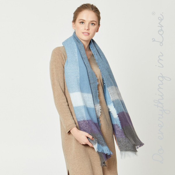 "Do everything in Love brand enlarged plaid print scarf with frayed edges.  - Approximately 21.5"" W x 74"" L - 100% Polyester"