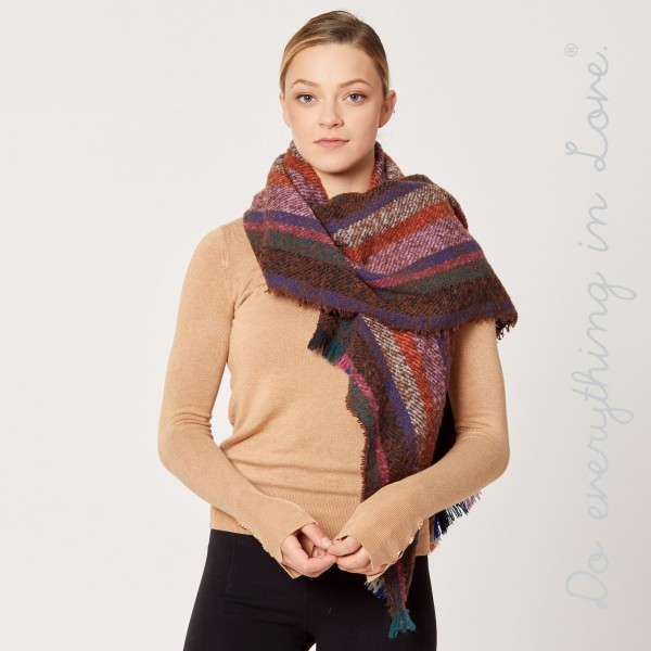 "Do everything in Love brand soft touch multicolor striped oblong scarf with frayed edges.  - Approximately 25"" W x 78"" L - 100% Acrylic"