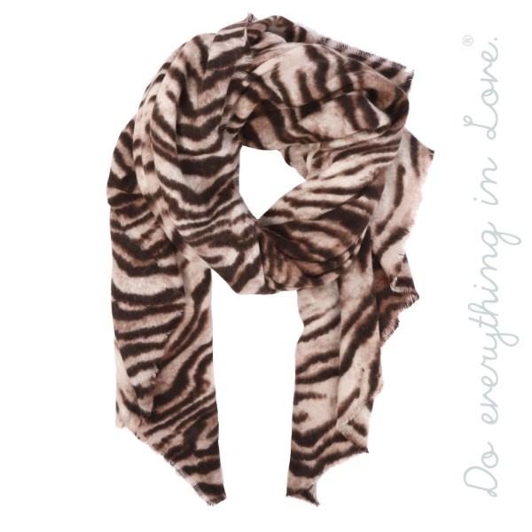 "Do everything in Love brand soft touch tiger print scarf.  - Approximately 37"" W x 76"" L - 100% Acrylic"