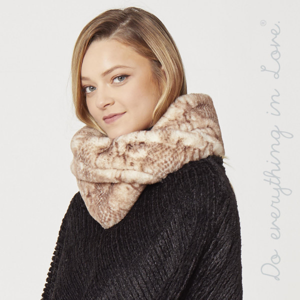 "Do everything in Love brand faux fur snakeskin tube scarf.  - Approximately 8"" W x 30"" L - 100% Polyester"