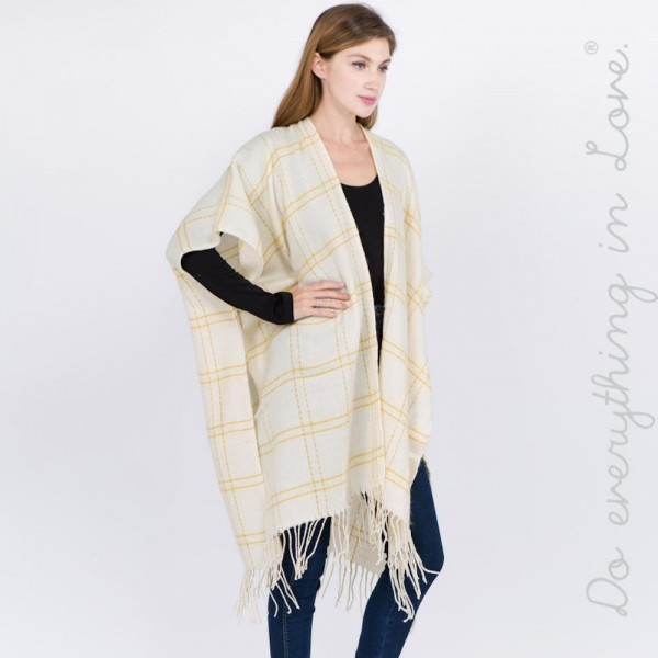 "Do everything in Love brand plaid print kimono with fringes.  - One size fits most 0-14 - Approximately 39"" in L - 100% Acrylic"