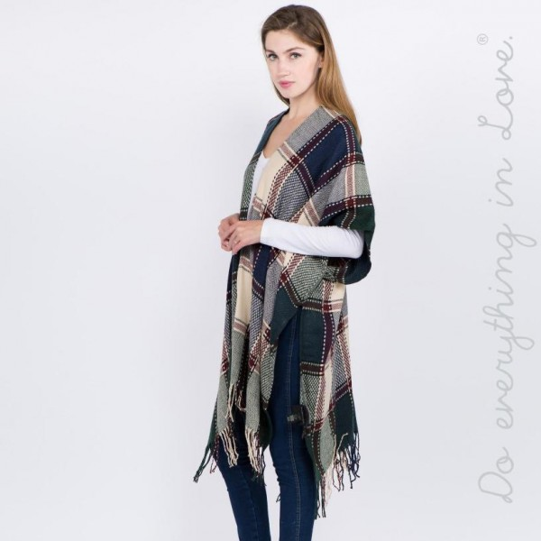"Do everything in Love brand plaid print herringbone checkered kimono with fringes.  - One size fits most 0-14 - Approximately 39"" L - 100% Acrylic"