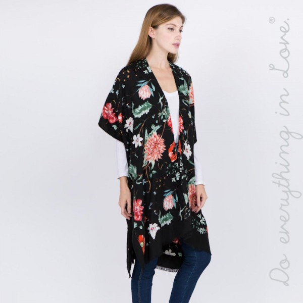 """Do everything in Love brand floral print kimono.  - One size fits most 0-14 - Approximately 37"""" L - 100% Polyester"""
