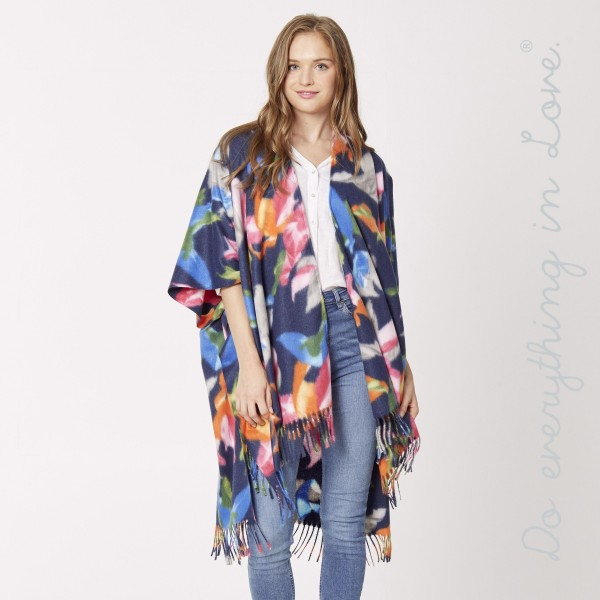 "Do everything in Love brand floral print kimono with fringes.  - One size fits most 0-14 - Approximately 39"" L - 70% Polyester, 30% Viscose"