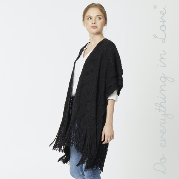 "Do everything in Love brand diamond textured woven kimono with enlarged fringes.   - One size fits most 0-14 - Approximately 39"" L - 100% Acrylic"