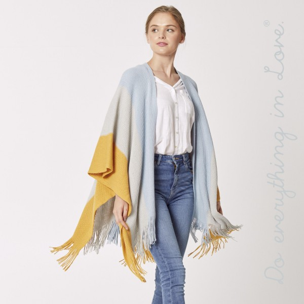 """Do everything in Love brand knitted color block ruana/shawl with fringes.  - One size fits most 0-14 - Approximately 33"""" L - 100% Acrylic"""