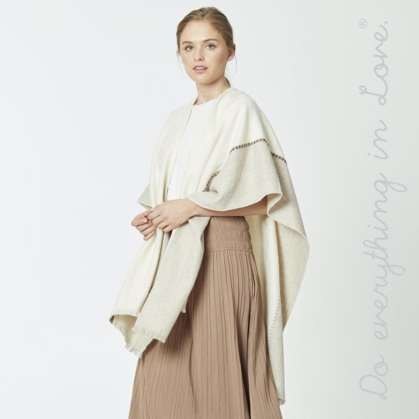 """Do everything in Love brand two tone ruana with stitch details.  - One size fits most 0-14 - Approximately 34"""" L - 80% Acrylic, 20% Wool"""