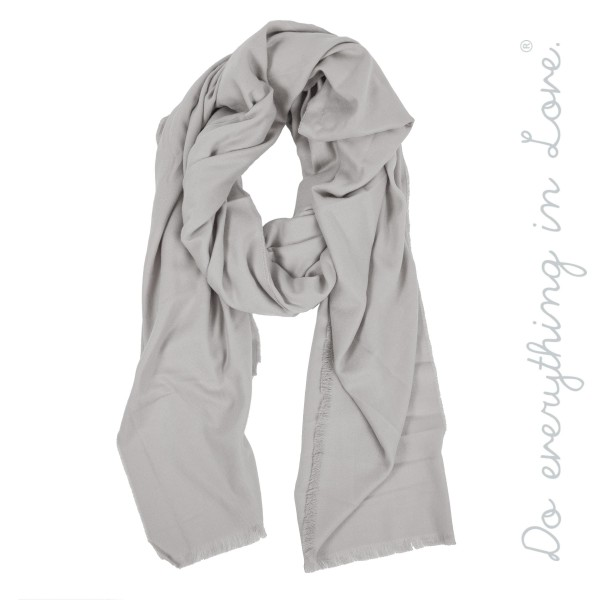 "Do everything in Love brand soft touch solid color oversized oblong scarf with raw edges.  - Approximately 45"" W x 86"" L - 75% Polyester, 25% Viscose"